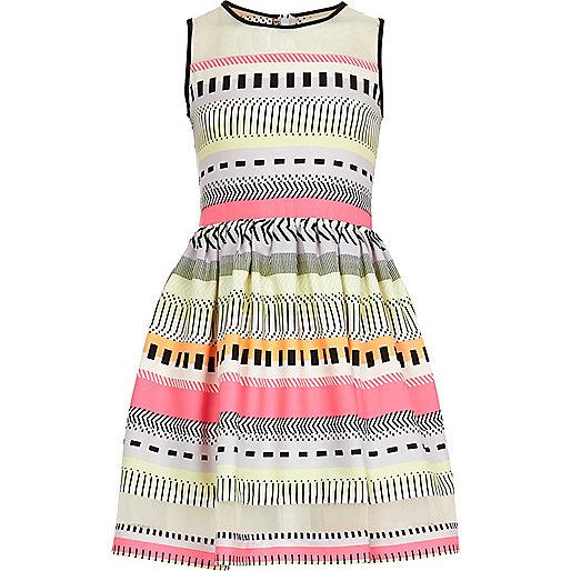 Girls pink fluro aztec print prom dress