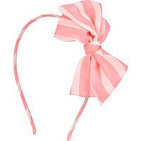 Girls pink stripe bow aliceband