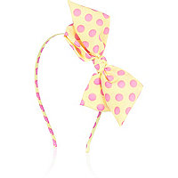 Girls lemon spot bow aliceband