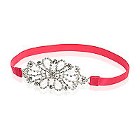 Girls pink stretch embellished headband