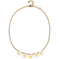 Girls gold tone daisy chain necklace