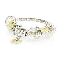Girls silver tone moveable bow charm bracelet