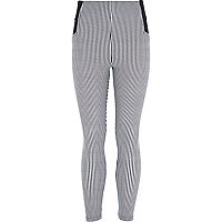 Girls black and white stripe leggings