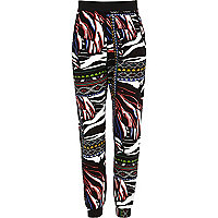 Girls black tribal print joggers