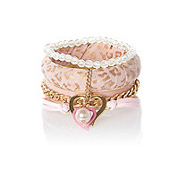 Girls pink and gold leopard bangle pack
