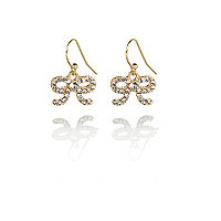 Girls gold tone diamante bow earrings
