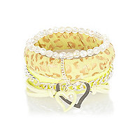 Girls yellow and gold leopard bangle pack