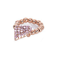 Girls rose fold tone diamante heart ring