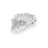 Girls silver tone diamanté heart ring