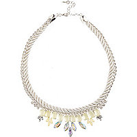 Girls white statement rope necklace