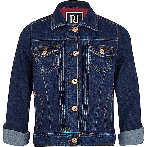 Girls dark denim wash jean jacket