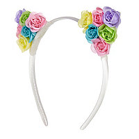 Girls white flower ear aliceband
