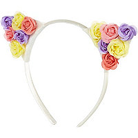 Girls yellow flower ear aliceband