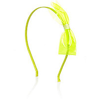 Girls neon yellow bow aliceband