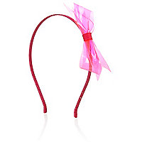 Girls neon pink bow aliceband