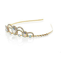 Girls gold tone embellished tiara headband
