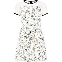Girls cream mesh floral dress
