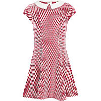 Girls pink spot jacquard dress
