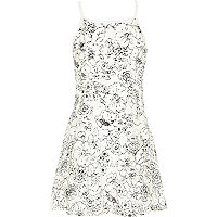 Girls cream lace strappy dress
