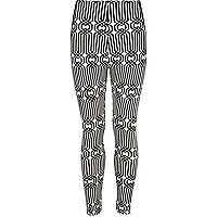 Girls black chain print leggings
