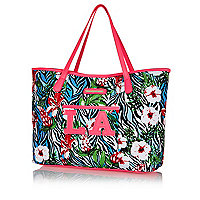 Girls pink tropical LA beach bag