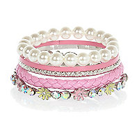 Girls pink bangle bracelet pack
