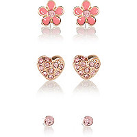 Girls pink stud 3 pack earrings