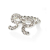 Girls silver tone diamanté bow ring