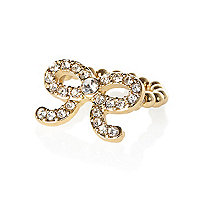 Girls gold tone diamante bow ring