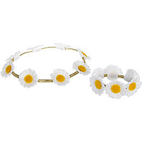 Girls white daisy headband and bracelet set