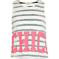 Girls cream stripe chic print tank t-shirt
