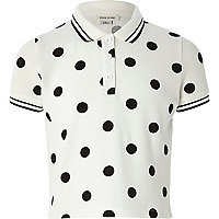 Girls cream polka dot print polo shirt