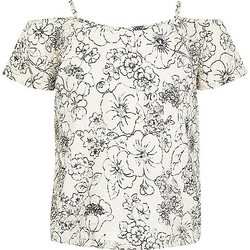 Girls cream floral print lace cami top