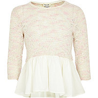 Girls cream chiffon sew peplum top