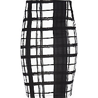 Girls black print tube skirt