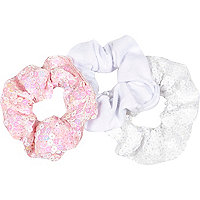 Girls pink sequin scrunchie 3 pack