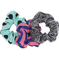 Girls pink spot and stripe 3 pack scrunchie