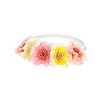 Girls pink and yellow flower stretch headband