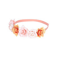 Girls coral flower garland stretch headband