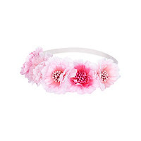 Girls pink flower stretch headband