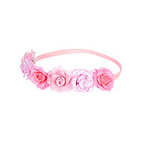 Girls pink flower garland stretch headband