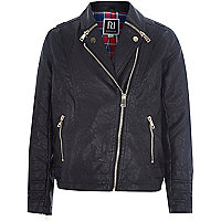 Girls black PU biker jacket