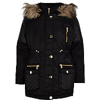 Girls black PU quilted parka coat