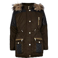 Girls khaki PU quilted parka coat