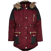Girls dark red quilted parka coat