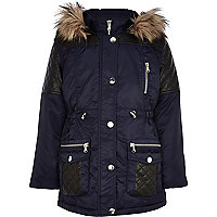 Girls navy quilted parka coat
