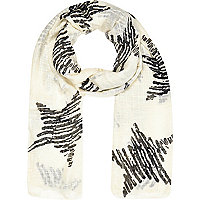Girls cream star print scarf