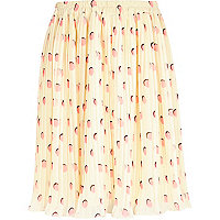 Girls cream pleated polka dot skirt