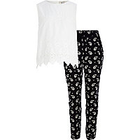 Girls white top and paisley trouser set