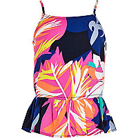 Girls pink tropical print bow back cami
